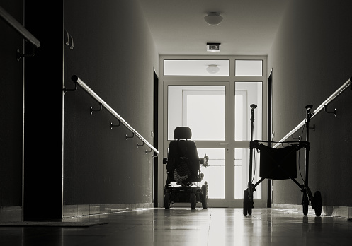 lonely corridor with walker in a nursing home